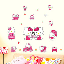 Free Shipping Lovely Hello Wall Sticker Home Decor pvc Kitty  Removable Mural Decals for Kids Rooms Decoration Cute Sticker
