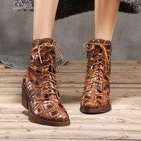 Artdiya 2018 Новый Зимний личность ботинки martin женская обувь из натуральной кожи в стиле ретро толстый каблук со шнуровкой на высоком каблуке бот
