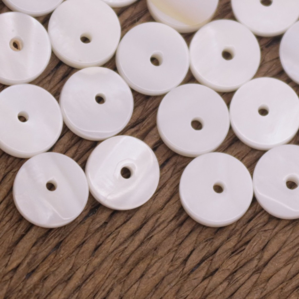 Купить с кэшбэком 50 PCS 8mm Round Coin Shell White Mother of Pearl Have Hole Jewelry Making DIY