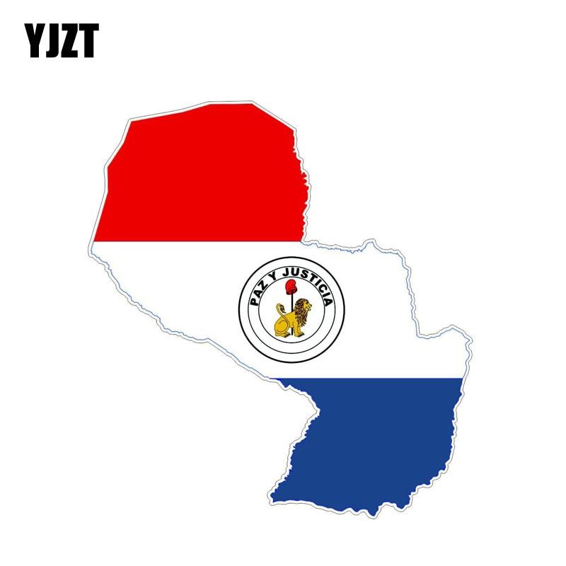 YJZT 13,5 см * 7,4 см Флаг Парагвая стикер автомобиля карта креативная Наклейка Автомобильные аксессуары 6-1213