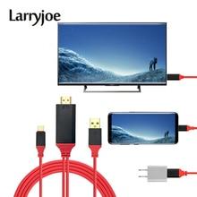 Larryjoe 2m USB 3.1 di Tipo C a HDMI Convertitore di Cavo di Tipo C a HDMI Video Cavi di Cavo di Filo di Linea per Smartphone a HDTV