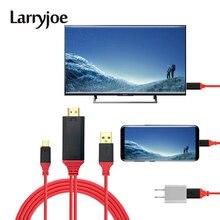Larryjoe Cable convertidor de 2m USB 3,1 tipo C a HDMI, Cable tipo C a HDMI, Línea alámbrica de vídeo para teléfono inteligente a HDTV