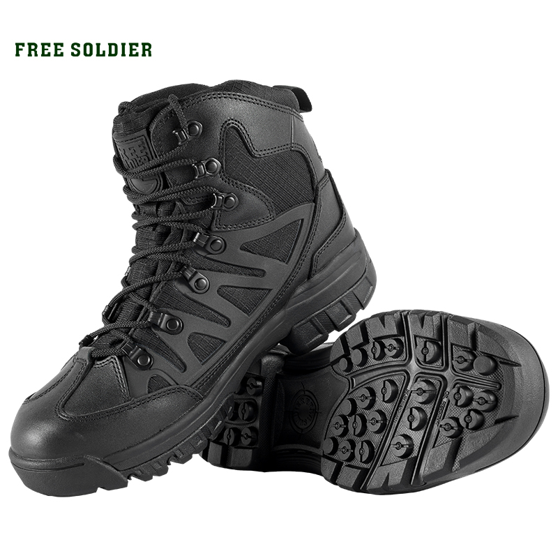 FREE SOLDIER Hiking Shoes For Mountain Shoes For Camping Climbing Imported Leather Breathable Outdoor Sports Tactical