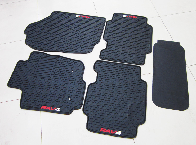 ФОТО latex special pads easy to clean sporty wear thick black beige rubber car floor mats for RAV4