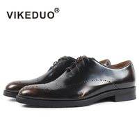 VIKEDUO Luxury Brand Vintage Mens Oxford Shoes Royal Party Wedding Black Gold Shoe 100% Genuine Leather Bullock Carved Footwear