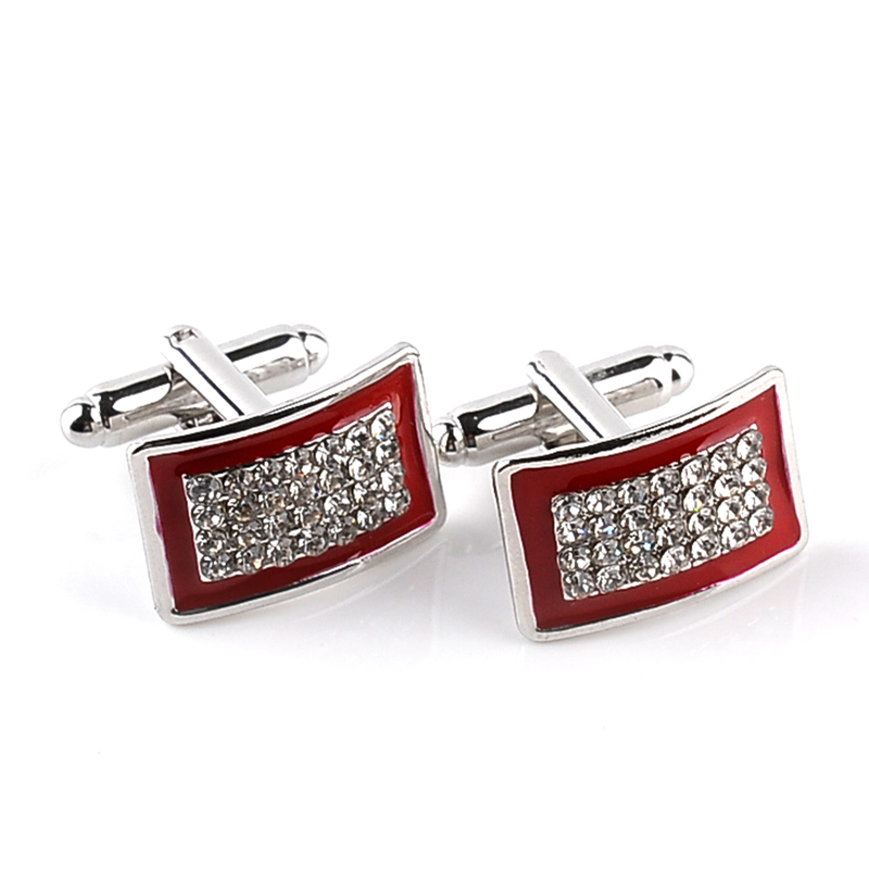 Bending Enamel Cuff Links Square Full Rhinestone Cufflinks For women men red black French Shirt Accessoires Cuflink Cuff Buttons