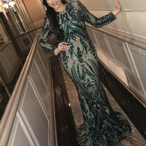 Image 3 - Green 2019 Muslim Long Sleeves Mermaid Evening Dress Appliques Sequined Train Arabic Kaftan Prom Dresses Party Gowns OL103347