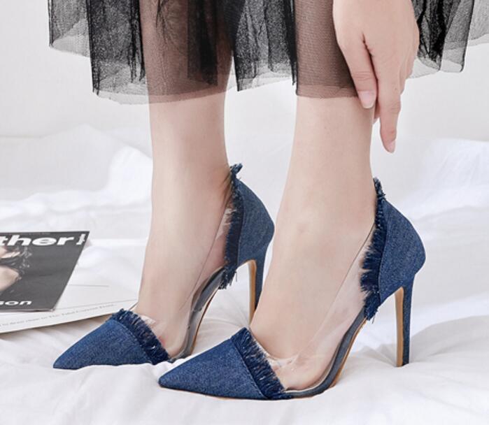 46e22c3d0e5 Haute Femme light Peu Blue Profonde Sapato Zapatos By86162 D hiver Pompes  Mujer Apricot Mince Dames Pointu Bout Blue deep Gland Talons Mode ...