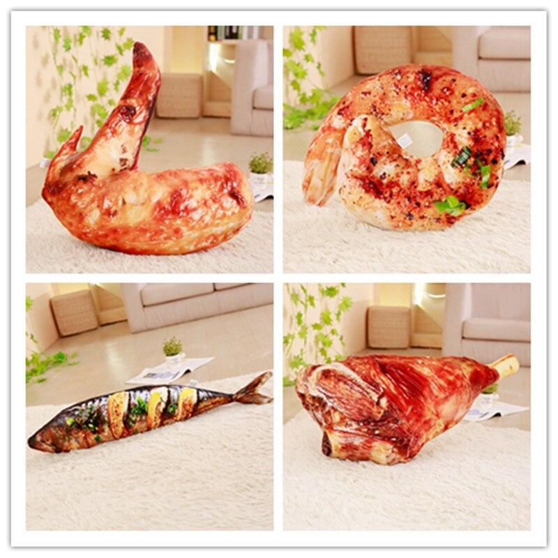1 pc Simulation Alimentaire En Peluche Oreiller En Peluche En Peluche Rôti Cochon de lait Crevettes Viande Saury Perche Oreiller Creative Cadeaux Décoration