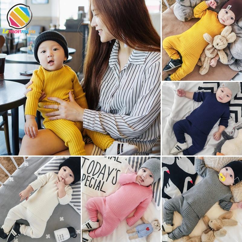 Lemonmiyu Baby Newborn Sets Unisex Long Sleeves Solid Knit Baby Boy Girl Clothes 0-24M O-neck Warm Children's Clothing Boy grey cable knit slit details round neck long sleeves jumper