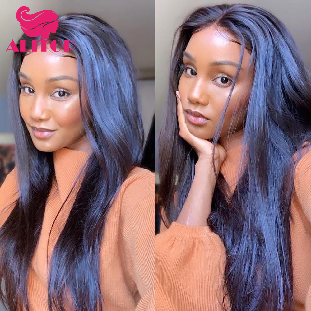 ALITOP Hair 180% Density Brazilian 360 Lace Frontal Wigs Straight Lace Front Human Hair Wig Pre Plucked Full End Remy Hair Wigs
