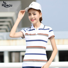 Ruoru M - 3XL Casual Striped Polo Shirt Women High Quality Cotton Femme Summer Short Sleeve Plus Size Tops