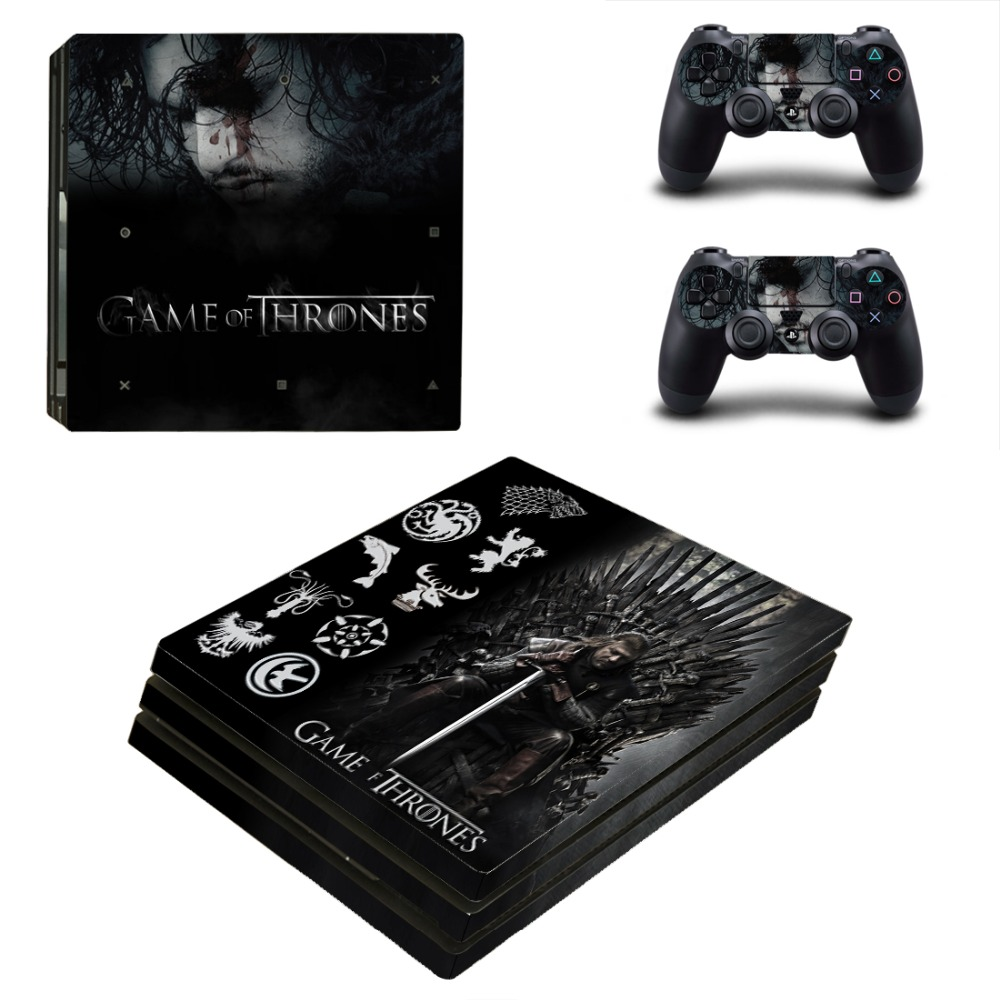 Ps4 PRO Console Skin Game of Thrones Decal Sticker + 2 Controller Skins Set