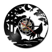 Vinyl Wall Clock Modern Design Pastoral Style Animal Wolf 3D Decorative Hanging Clocks Wall Watch Home Decor Silent 12 inch