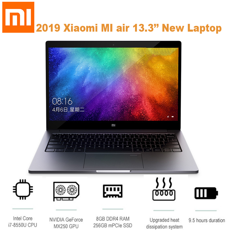 Xiao mi ar 2019 13.3 laptop laptop computador portátil windows 10 os/intel core i7 8550U 8 gb ram 256 gb ssd/sensor de impressão digital/câmera 1.0mp - 1
