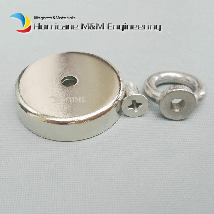 160kg Pulling Pot Magnet Dia 75mm M10 Eye Bolt Mounting Magnetic Strong Magnet Neodymium Permanent Magnets 3 Fishing Magnet