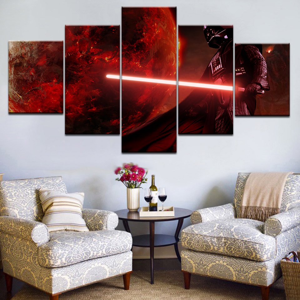 Home Decor Canvas Painting Abstract 5Panel Movie Star Wars Character earth Decorative Paintings Modern Wall Pictures Art Frame image