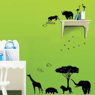 Safari African Animals Kids room Wall Stickers Living room Wall Decals Vnly Romovable Home Decoration