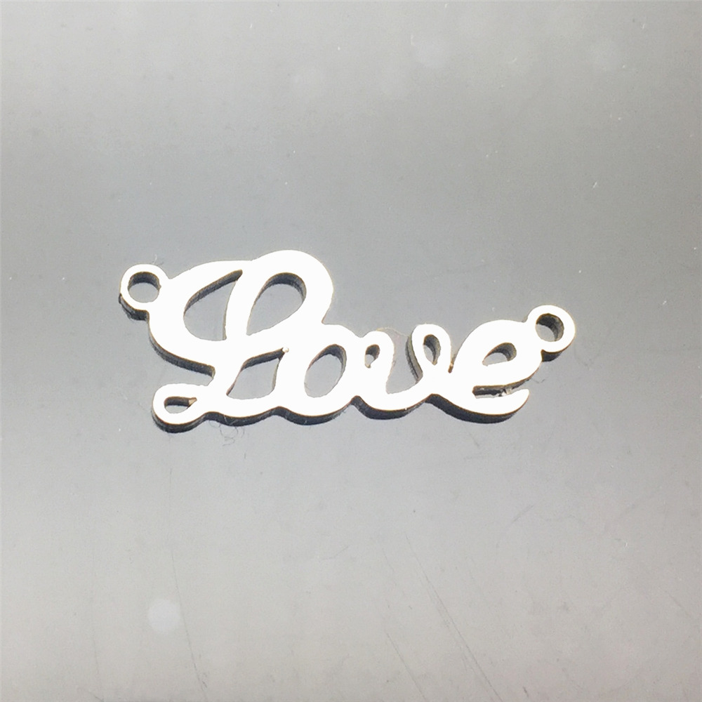 Stainless Steel Connectors 10pcs Love Word Charms Pendants Necklace Bracelet Connector Diy Jewelry Making Finding