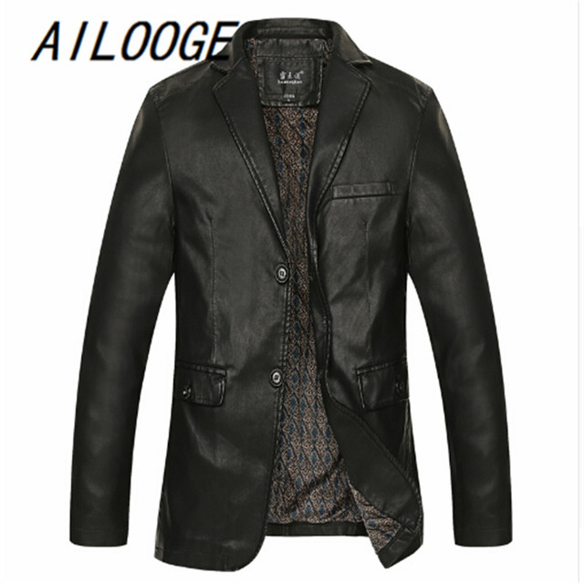 Big yards PU leather Male leather clothing outerwear Big size autumn thin oversize big size man casual top plus size jacket