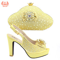 2019 New Summer Yellow Color Italian Shoes with Matching Bags Shoes and Bag Set African Sets Shoe and Bag Italian Wedding Party