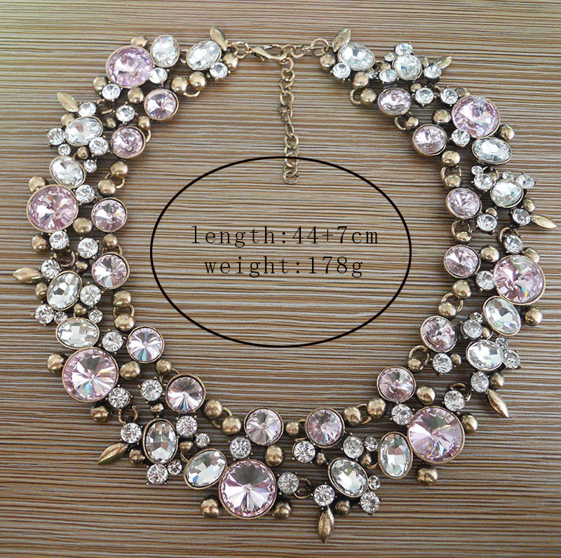 Mode Kristall Large Collar Choker Halskette Frauen Faux Pearl Big Bib - Modeschmuck - Foto 3