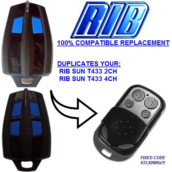 RIB SUN T433-2CH, RIB SUN T433-4CH Replacement remote control duplicator fixed code 433,92Mhz rib knit tights