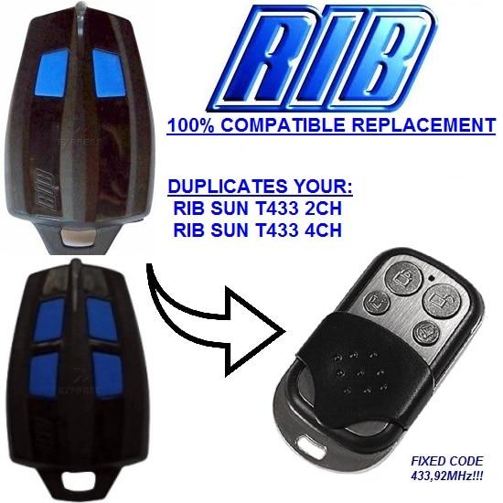 RIB SUN T433-2CH, RIB SUN T433-4CH Replacement Remote Control Duplicator Fixed Code 433,92Mhz