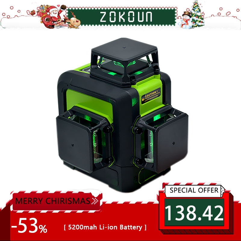 Zokoun 3 x 360 3D green beam Lines Laser Level with 5200mah LITHIUM BATTERY and Horizontal