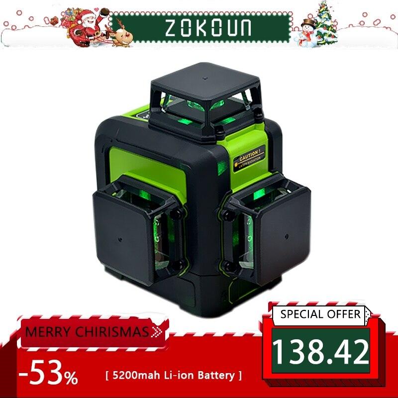 Zokoun 3x360 3D verde Rayo de líneas láser nivel con 5200 mAh batería de litio y las líneas horizontales y verticales trabajando por separado