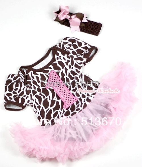 Giraffe Baby Dress Romper Light Pink Skirt Onesie 1st Number Jumpsuit with Brown Light Pink Bow and Headband MAJS151