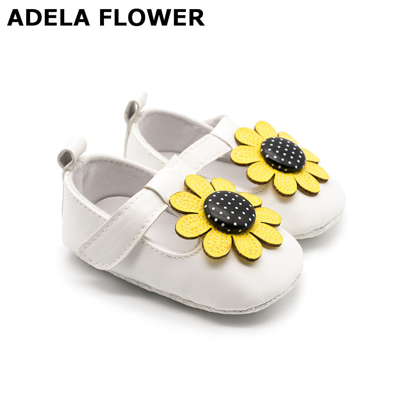 Adela Flower Cute Sunflower T-bar Baby Shoes Girls Princess Party PU Leather Shoes Infant Girl First Walkers zapatos ninas 0-18M