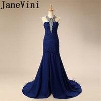 JaneVini шифон Королевский синий Блестки Кристалл плюс Размеры платья невесты для летней свадьбы строки развертки Поезд Vestidos De Gasa