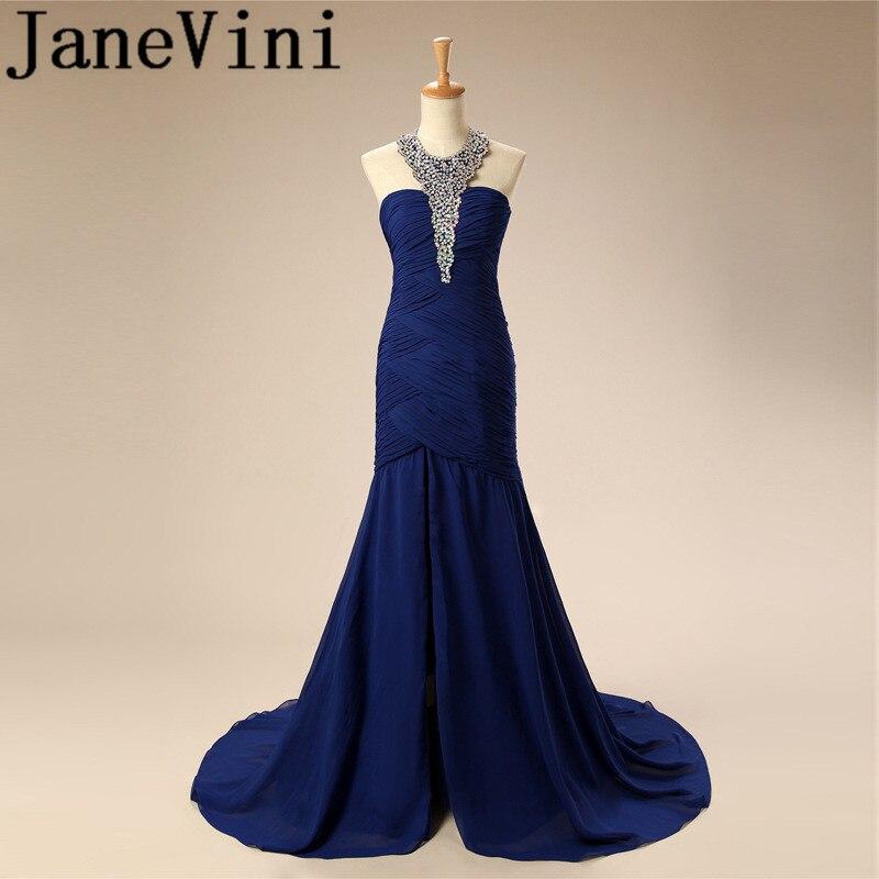 JaneVini Chiffon Royal Blue Sequins Crystal Plus Size   Bridesmaid     Dresses   for Summer Weddings A-Line Sweep Train Vestidos De Gasa