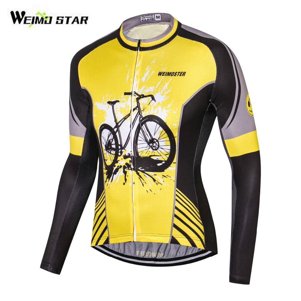 WEIMOSTAR 2018 Cycling Jersey Mtb Bicycle Clothing Bike Wear Clothes Long  Sleeve Shirt Sportswear Maillot Black Yellow S-3XL d041804cf
