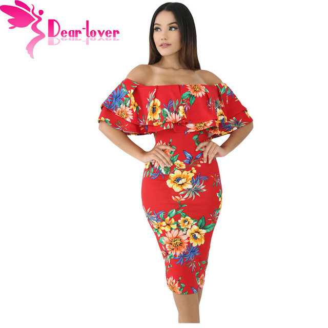 Dear Lover Off Shoulder Party Dress 2017 Women Elegant Short Sleeve Layered Ruffle Sheath Midi Dress Vestido Knee-length LC61611