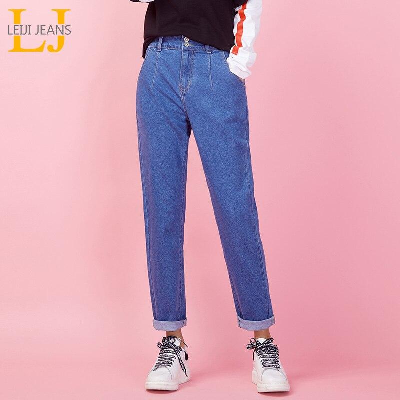 45d29ec569f LEIJIJEANS Новое поступление винтажные женские джинсы весна Плюс Размер  Мода Высокая талия светло-голубой полная
