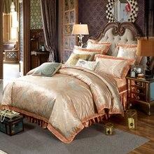 Luxury European Style Jacquard Bedding Silk Cotton Blend Queen King Size 4/6/7pcs Duvet Cover Bedskirt Sheet Pillow Case