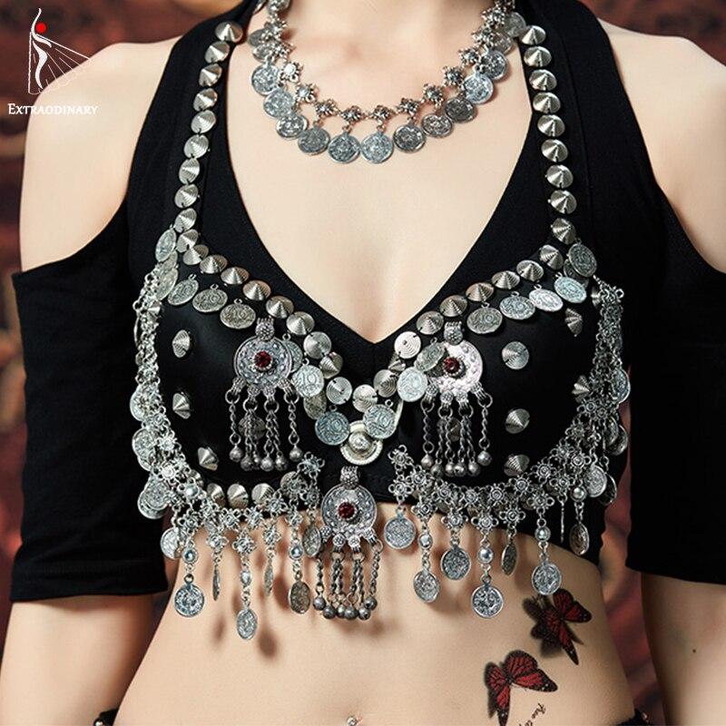 Women ATS Tribal Top Belly Dance Bras Silver Chain Metallic Studs Push Vintage Coins Bra Gypsy Dancewear Tops Costumes