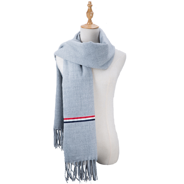 2017 New Luxury Thom Browne Scarf Winter Women Scarf Men Wool Cashmere Solid Thick Warm Scarf Pashmina Tassels Wraps Scarves