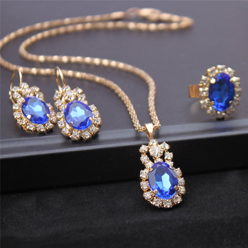 2018 Hot Crystal Stone Gold Chain Necklace Earrings Ring Jewelry Set Blue Red White Drop Pendant Wedding Jewelry For Brides