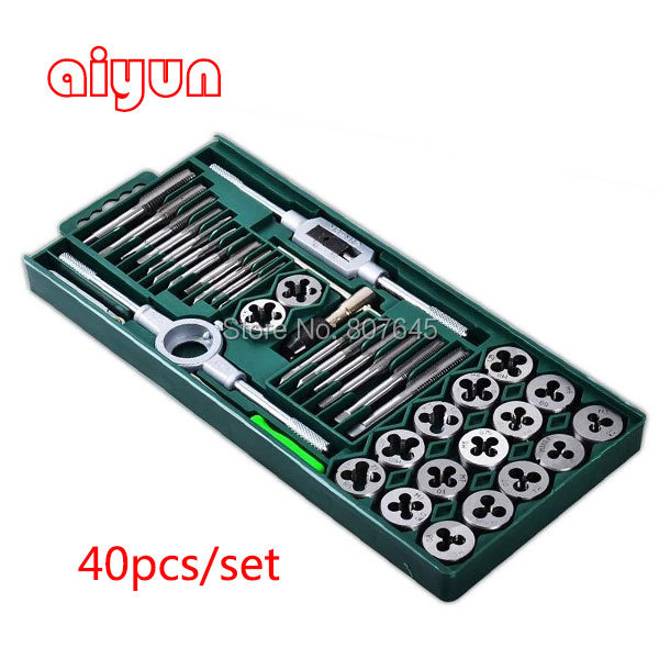 40pcs/set tap and die set  M3~M12 Screw Thread Metric Plugs Taps & Tap wrench & Die wrench, hand screw taps Hand Threading 40pcs tap