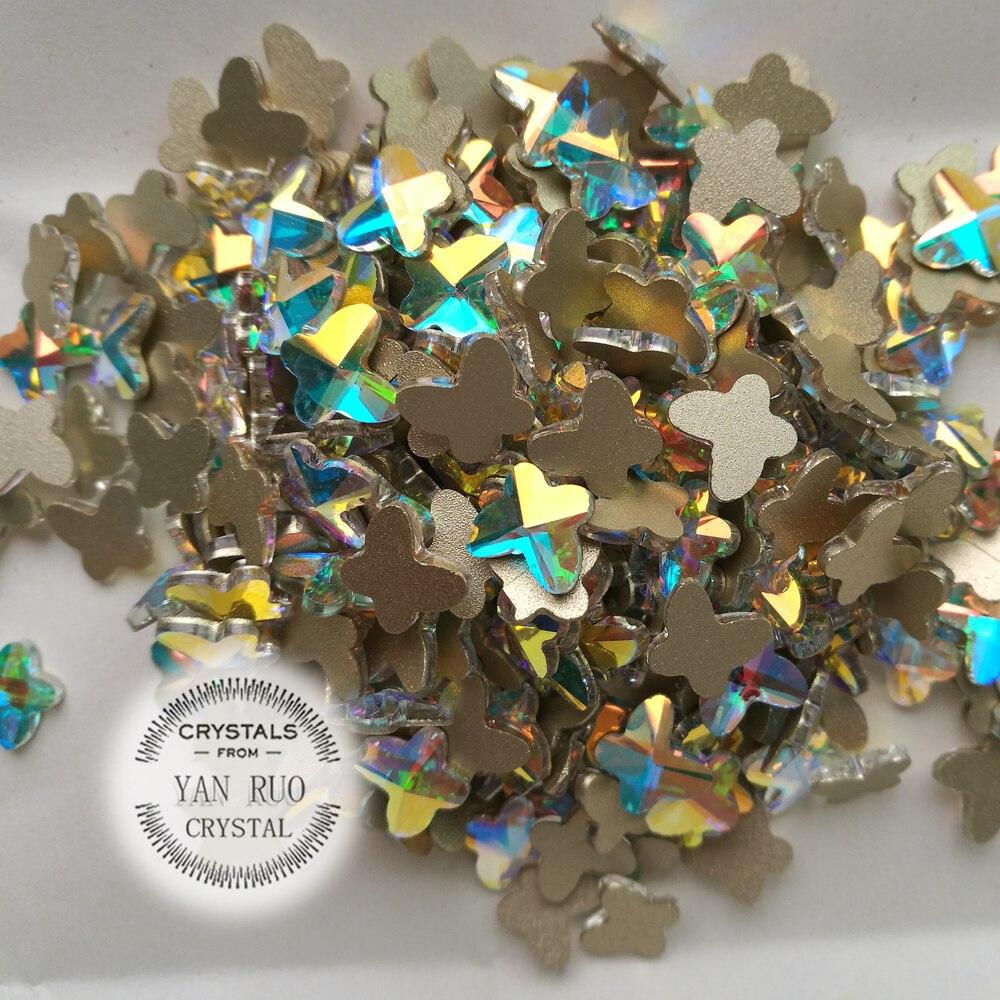 YANRUO 144pcs y 72pcs 5.5X6mm, 8X9mm AB Forma clara de mariposa No - Arte de uñas - foto 4