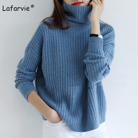 Lafarvie 2018Autumn Winter Women Sweaters And Pullover Turtleneck Loose Thick Knitting Cashmere Sweater Female Warm High Quality