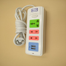 EU Power Strip With 2USB Portable Extension Socket Plug 1.5m Cable AC Travel Adapter USB Smart Phone Charger