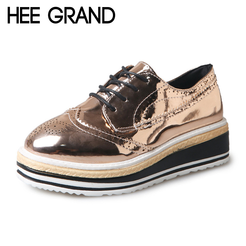 цены HEE GRAND 2018 New Creepers Platform Shoes Woman Sliver Gold Loafers Casual Slip On Flats Patchwork Women Oxfords Shoes XWX6710