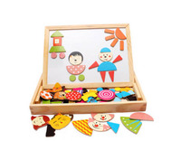 Multifunction Wood Puzzle Toy Mangetic Drawing Toy With Stick and Magnetic Building Block