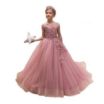 dbe3f8af3 Vestidos de niña de las flores de los niños vestidos de noche del desfile  de los niños vestidos ...
