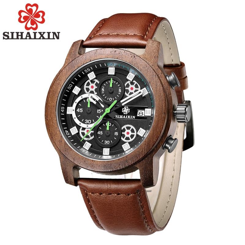 SIHAIXIN únicos relojes de madera hechos a mano de cuero hombres - Relojes para hombres