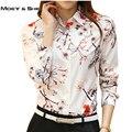 4XL Mulheres de Carreira Blusa de grandes dimensões Branco Impressão Floral Gola Polo Senhora Elegante Camisa de Manga Longa Coreano Femme Tops T6N1812H